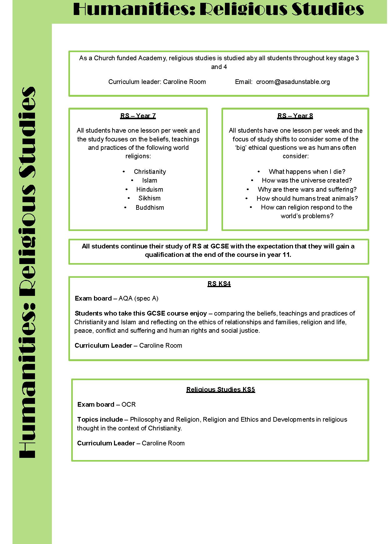 Curriculum Area - All Saints Academy Dunstable